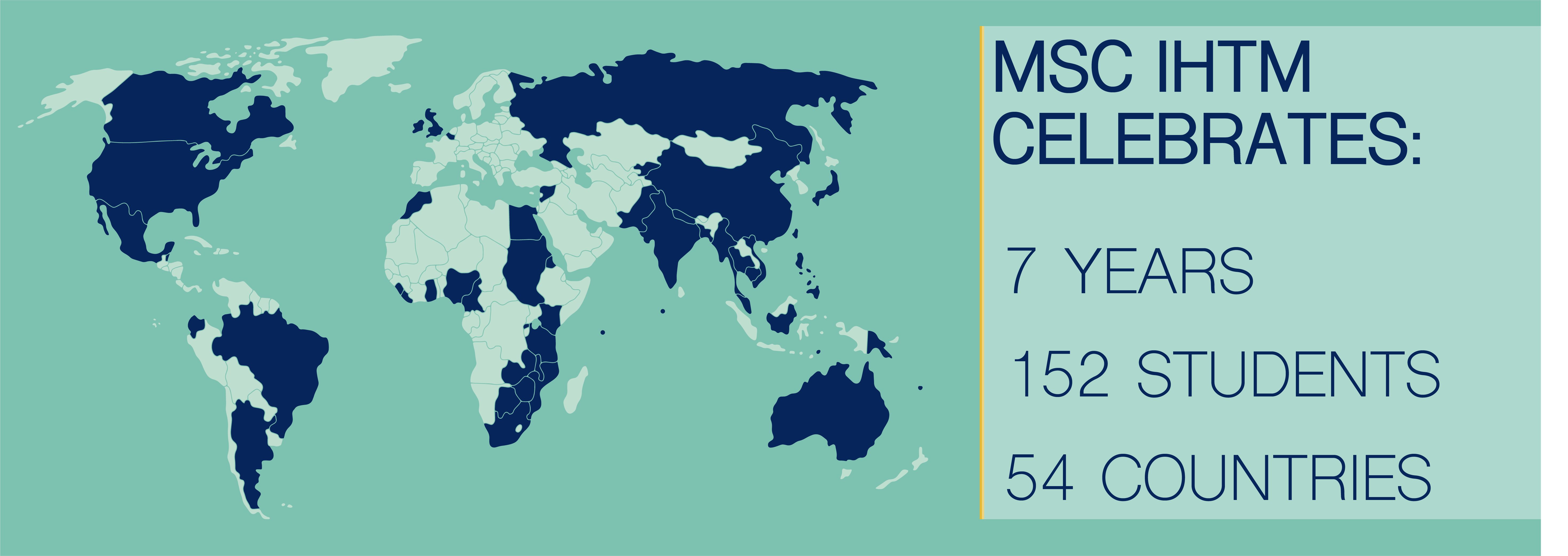 map showcasing 54 countries where alumni and students come from
