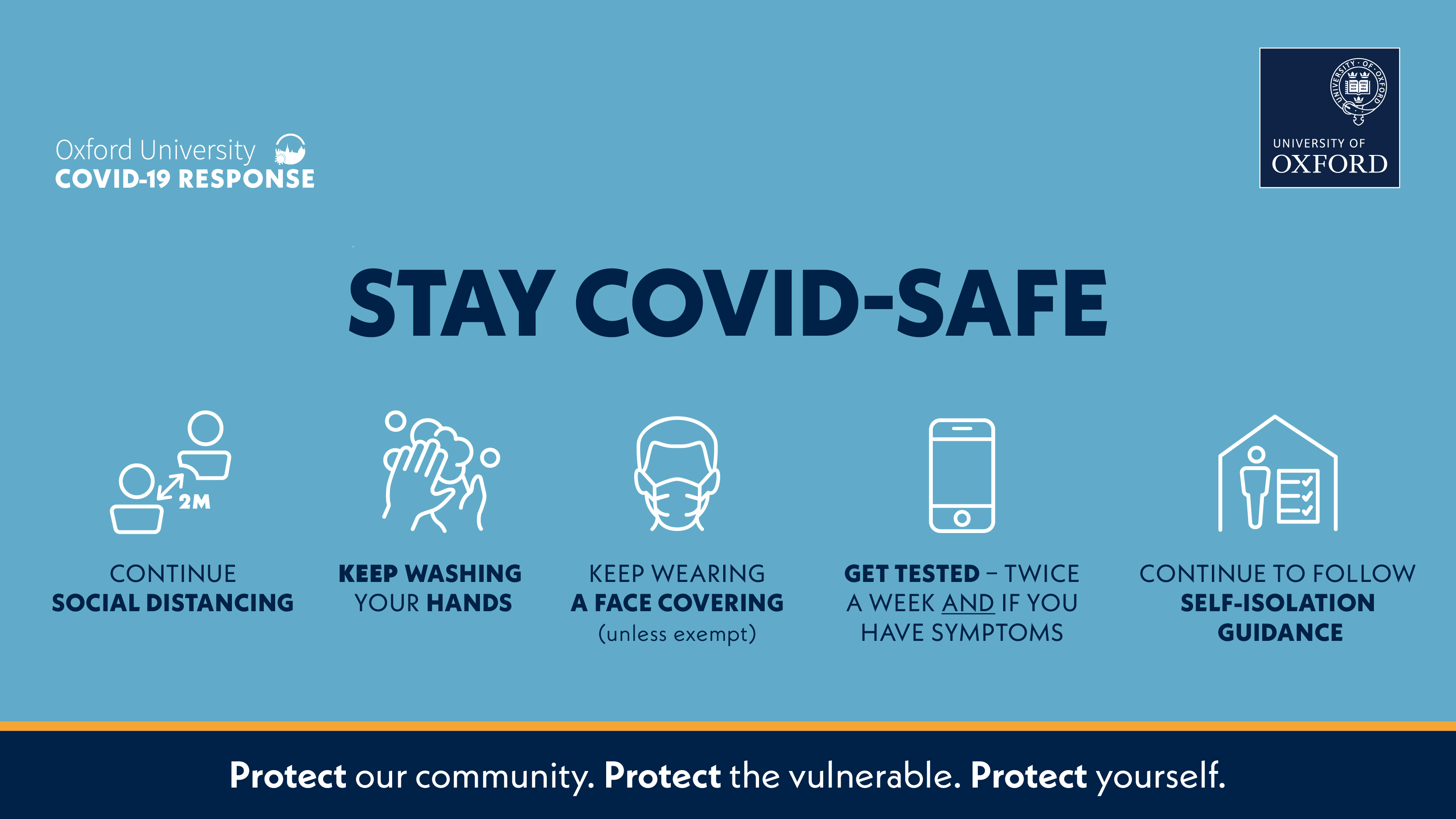 An information banner on Oxford University's COVID-19 Response with the main message